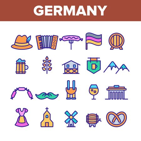 Germany Country Culture Elements Icons Set Vector Thin Line. Germany Flag And Mountain, National Hat And Suit, Food And Beer Concept Linear Pictograms. Monochrome Contour Illustrations Çizim