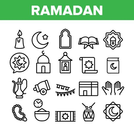 Ramadan Islam Collection Elements Icons Set Vector Thin Line. Koran And Crescent, Hands And Candle, Carpet And Drum Mubarak Ramadan Holiday Concept Linear Pictograms. Monochrome Contour Illustrations
