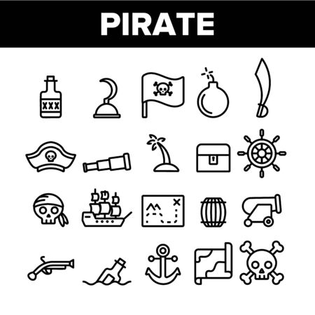Pirate Things Collection Elements Icons Set Vector Thin Line. Pirate Triangle Hat And Sabre, Skull With Bandanna And Bones Concept Linear Pictograms. Monochrome Contour Illustrations