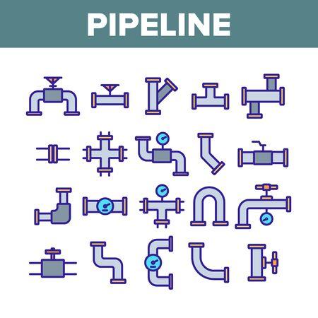 Pipeline Collection Elements Icons Set Vector Thin Line. Steel Pipeline Steel Pipe Connector And Valve For Plumbing Work Concept Linear Pictograms. Monochrome Contour Illustrations Çizim