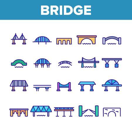 Bridge Construction Collection Icons Set Vector Thin Line. Concrete And Metal, Suspended And Pedestrian Bridge Concept Linear Pictograms. Crossing River Way Monochrome Contour Illustrations