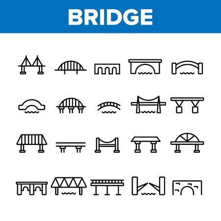Bridge Construction Collection Icons Set Vector Thin Line. Concrete And Metal, Suspended And Pedestrian Bridge Concept Linear Pictograms. Crossing River Way Monochrome Contour Illustrations
