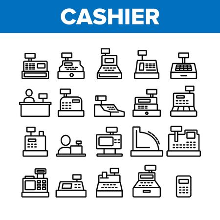 Cashier Equipment Collection Icons Set Vector Thin Line. Different Electronic Device Cashier Machine Register And Calculator Concept Linear Pictograms. Monochrome Contour Illustrations