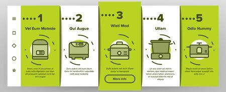 Les icônes vectorielles de l'écran de la page de l'application mobile d'intégration de la mijoteuse définissent une ligne mince. Différents pictogrammes linéaires de concept d'ustensiles de cuisine de cuiseur. Illustrations de contour d'équipement et de gadgets de cuisine moderne