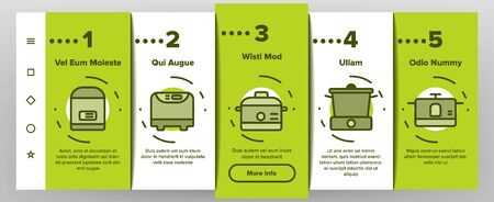 Slow Cooker Onboarding Mobile App Page Screen Vector Icons Set Thin Line. Different Cooker Kitchenware Concept Linear Pictograms. Modern Cooking Food Equipment And Gadgets Contour Illustrations