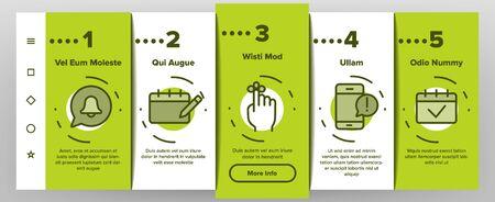 Reminder Onboarding Mobile App Page Screen Vector Icons Set Thin Line. Reminder, Goal And Date On Calendar, Bell On Smartphone Display Pictograms. Time Management Contour Illustrations Ilustração