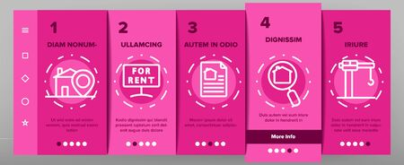 Real Estate Onboarding Mobile App Page Screen Vector Icons Set . Building And House, Map And Plan, Garage And Swimming Pool Real Estate Concept Linear Pictograms. Contour Illustrations