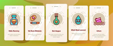 Chemical Toxic Poison Onboarding Mobile App Page Screen Vector Icons Set Thin Line. Toxic In Barrel, Poisonous Water, Substance In Flask, Skull With Bones Linear Pictograms. Contour Illustrations