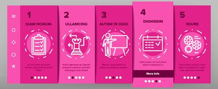 Planning Onboarding Mobile App Page Screen Vector Icons Set Thin Line. Chess Figures And Presentation, Mechanism Gears And Presenting Strategic Planning Linear Pictograms. Contour Illustrations