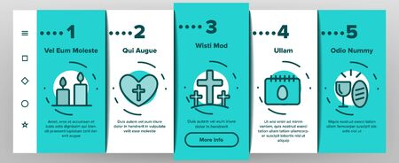 Happy Easter Onboarding Mobile App Page Screen Vector Icons Set Thin Line. Egg And Bunny, Church And Tulip Celebrity Easter Details Concept Linear Pictograms. Religion Holiday Contour Illustrations