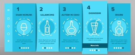Alcohol Elements Onboarding Mobile App Page Screen Vector Icons Set Thin Line. Alcohol Beverage In Glass And Bottle Concept Linear Pictograms. Beer And Champagne, Wine And Whiskey Illustrations  イラスト・ベクター素材