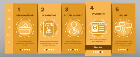 Elections Onboarding Mobile App Page Screen Vector Icons Set Thin Line. Candidate And President, Newspaper And Tablet, Building And Elections Graph Concept Linear Pictograms. Contour Illustrations