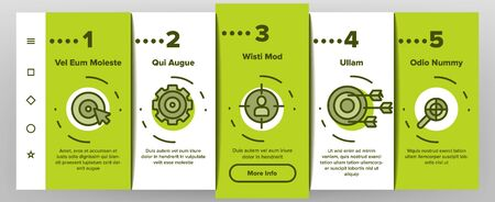 Target Aim Onboarding Mobile App Page Screen Vector Icons Set Thin Line. Different Game Military Shape Target, Dartboard With Arrow And Archery Concept Linear Pictograms. Color Contour Illustrations Illusztráció