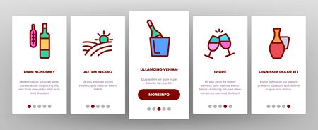 Wine Product Onboarding Mobile App Page Screen Vector Icons Set Thin Line. Wine Bottle And Glasses, Barrel And Card, Cheese And Grape Concept Linear Pictograms. Vineyard Color Contour Illustrations