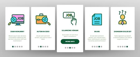 Job Hunting Onboarding Mobile App Page Screen Vector Thin Line. Magnifier With Suitcase And Computer, Web Site And Businessman Job Hunting Concept Linear Pictograms. Illustrations Ilustracja