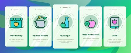 Healthy Food Nutrition Onboarding Mobile App Page Screen Vector Thin Line. Honey, Broccoli And Apple Ingredients Health Breakfast Food Concept Linear Pictograms. Contour Illustrations