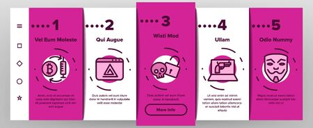 Darknet Onboarding Mobile App Page Screen Vector Thin Line. Password And Key Protection Dark Deep Internet And Security Darknet Concept Linear Pictograms. Color Contour Illustrations