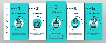 Cactus Domestic Plant Onboarding Mobile App Page Screen Vector Thin Line. Different Cactus And Succulent With Thorn, Spike And Flower Concept Linear Pictograms. Houseplants Color Contour Illustrations