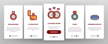 Ring Jewelry Onboarding Mobile App Page Screen Vector Thin Line. Wedding Ring On Hand Finger And In Box Container, With Diamond And Broken Concept Linear Pictograms.Contour Illustrations Banque d'images - 132059806