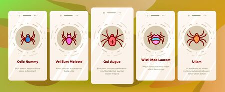 Spider Silhouette Onboarding Mobile App Page Screen Vector Thin Line. Danger Poison Arachnid Spider Concept Linear Pictograms. Creepy And Spooky Animal Insect Wildlife Contour Illustrations Illusztráció