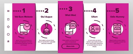Online Taxi Onboarding Mobile App Page Screen Vector Thin Line. Smartphone With Gps Mark And Baggage, Card And Direction, Stopwatch And Taxi Car Concept Linear Pictograms. Illustrations Banco de Imagens - 132059878