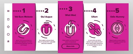 Magnet Power Onboarding Mobile App Page Screen Set Vector Thin Line. Negative And Positive, Magnetic Power, Steel Magnet And Compass Linear Pictograms. Contour Illustrations