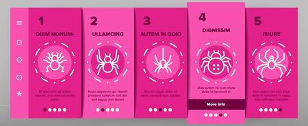 Spider Silhouette Onboarding Mobile App Página Pantalla Vector Línea delgada. Pictogramas lineales del concepto de la araña arácnida del veneno del peligro. Ilustraciones de contorno de vida silvestre de insectos animales espeluznantes y espeluznantes