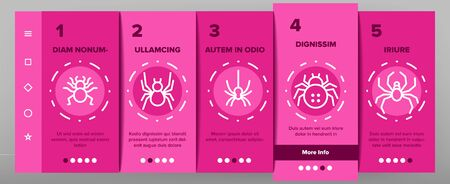 Spider Silhouette Onboarding Mobile App Page Screen Vector Thin Line. Danger Poison Arachnid Spider Concept Linear Pictograms. Creepy And Spooky Animal Insect Wildlife Contour Illustrations 矢量图像