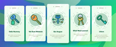 Key Onboarding Mobile App Page Screen Vector Thin Line. Key In Heart Form, Ancient And Modern, Electronic And Classical Concept Linear Pictograms. Contour Illustrations