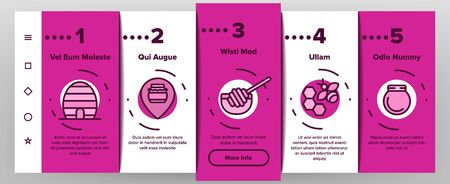 Honeycomb Onboarding Mobile App Page Screen Vector Thin Line. Bee Swarm, Beekeeper And Sweets, Nectar And Honeycomb Concept Linear Pictograms. Beekeeping Contour Illustrations