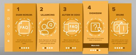 Faq Frequently Asked Questions Onboarding Mobile App Page Screen Vector Website And Word Faq In Quote Frame, Exclamation And Information Mark Concept Linear Pictograms. Contour Illustrations