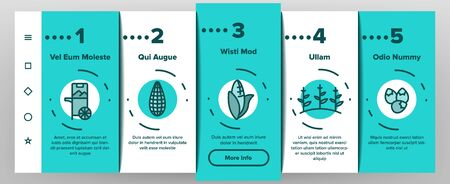 Corn Food Onboarding Mobile App Page Screen Vector Thin Line. Pop Corn And Corncob, Maize Grain And Package, Cart And Nutrition Field Concept Linear Pictograms. Color Contour Illustrations  イラスト・ベクター素材