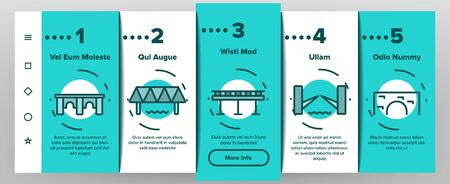 Bridge Construction Onboarding Mobile App Page Screen Vector Thin Line. Concrete And Metal, Suspended And Pedestrian Bridge Concept Linear Pictograms. Crossing River Way Contour Illustrations Illustration
