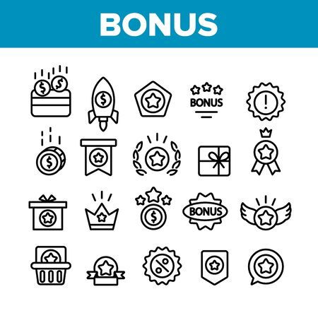Bonus Loyalty Collection Elements Icons Set Vector Thin Line. Dollar Mark On Rocket, Coins And Credit Card, Present Box And Crown Bonus Concept Linear Pictograms. Monochrome Contour Illustrations