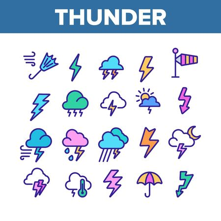 Thunder And Lightning Collection Icons Set Vector Thin Line. Thunder And Raining Clouds, Umbrella And Wind, Sun And Moon Concept Linear Pictograms. Color Contour Illustrations