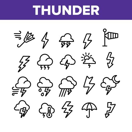 Thunder And Lightning Collection Icons Set Vector Thin Line. Thunder And Raining Clouds, Umbrella And Wind, Sun And Moon Concept Linear Pictograms. Monochrome Contour Illustrations