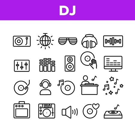 Dj Device Collection Elements Icons Set Vector Thin Line. Dj Equipment And Dynamic, Monitor And Vinyl Record Retro Sound Carrier Plate Concept Linear Pictograms. Monochrome Contour Illustrations