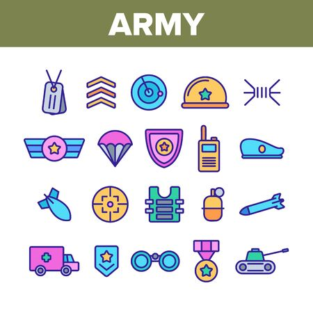 Army Military Collection Elements Icons Set Vector Thin Line. Medal And Shield, Truck And Tank, Target And Bomb, Radar And Parachute Army Concept Linear Pictograms. Color Contour Illustrations Imagens - 132060530