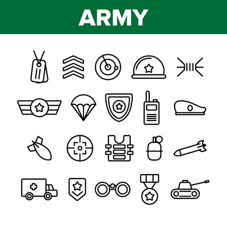 Army Military Collection Elements Icons Set Vector Thin Line. Medal And Shield, Truck And Tank, Target And Bomb, Radar And Parachute Army Concept Linear Pictograms. Monochrome Contour Illustrations Imagens - 132060532