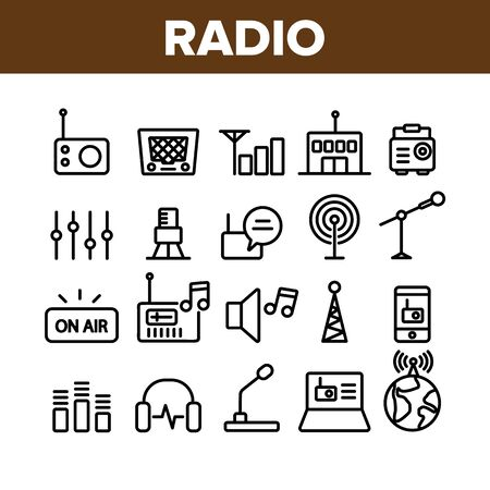 Radio Program Collection Elements Icons Set Vector Thin Line. Modern And Vintage Radio Device, Microphone And Headphones Concept Linear Pictograms. Monochrome Contour Illustrations