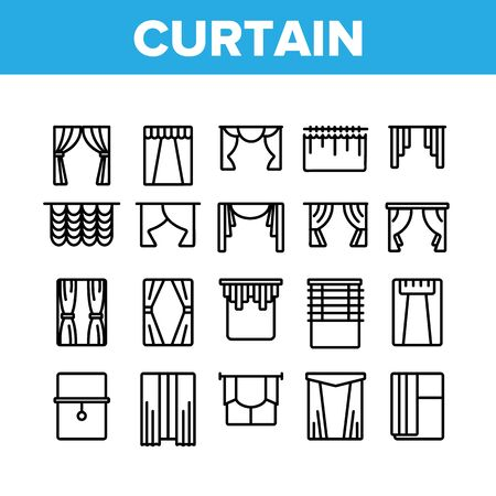 Curtain Collection Decor Elements Icons Set Vector Thin Line. Decoration Of Room And Theater Satin And Fabric Curtain And Louvers Concept Linear Pictograms. Monochrome Contour Illustrations