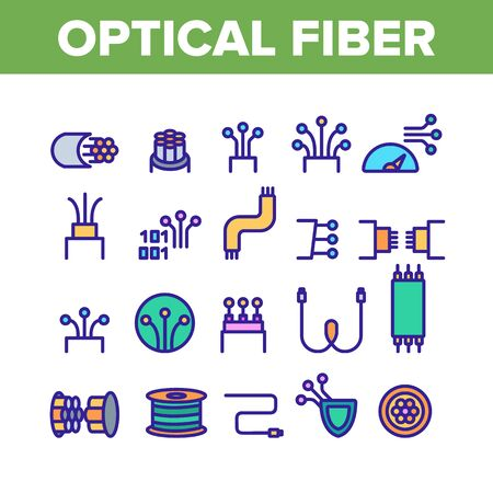 Optical Fiber Collection Elements Icons Set Vector Thin Line. Network Connection, Computer Wire, Cable Bobbin Fiber And Data Transfer Concept Linear Pictograms. Color Contour Illustrations  イラスト・ベクター素材