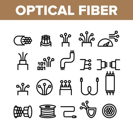 Optical Fiber Collection Elements Icons Set Vector Thin Line. Network Connection, Computer Wire, Cable Bobbin Fiber And Data Transfer Concept Linear Pictograms. Monochrome Contour Illustrations  イラスト・ベクター素材