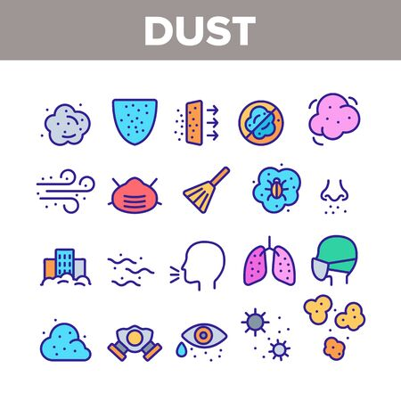 Dust And Polluted Air Collection Icons Set Vector Thin Line. Mask And Respirator, Lungs And Nose, Environment Pollution And Dust Concept Linear Pictograms. Color Contour Illustrations