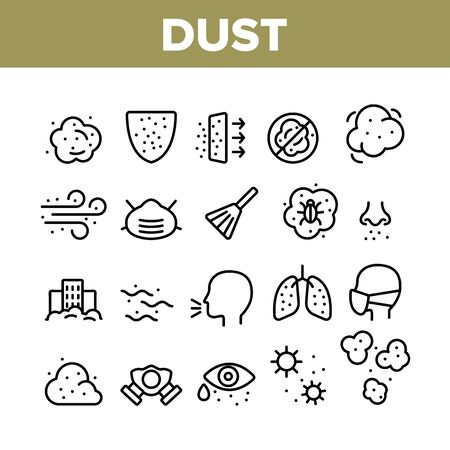 Dust And Polluted Air Collection Icons Set Vector Thin Line. Mask And Respirator, Lungs And Nose, Environment Pollution And Dust Concept Linear Pictograms. Monochrome Contour Illustrations