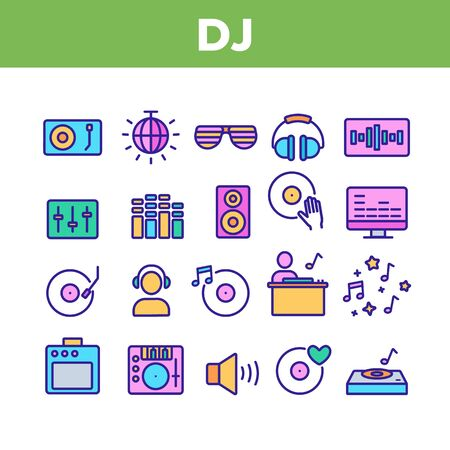 Dj Device Collection Elements Icons Set Vector Thin Line. Dj Equipment And Dynamic, Monitor And Vinyl Record Retro Sound Carrier Plate Concept Linear Pictograms. Color Contour Illustrations Çizim