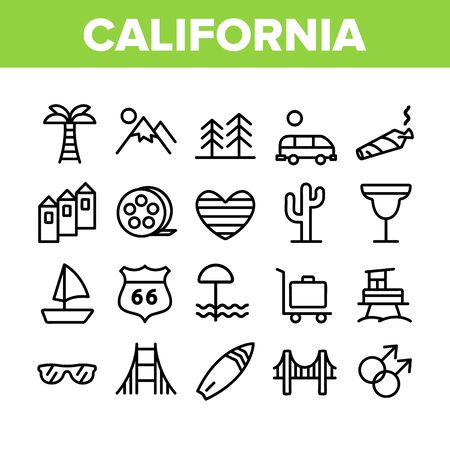 California Collection Elements Icons Set Vector Thin Line. Mountain And Palm Forest, Cactus And Bridge, Van And Glasses, California Concept Linear Pictograms. Monochrome Contour Illustrations