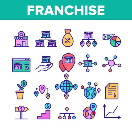 Franchise Collection Elements Icons Set Vector Thin Line. Home Office And Corporate Headquarters, Globe With Gps Mark And Web Site Franchise Concept Linear Pictograms. Color Contour Illustrations
