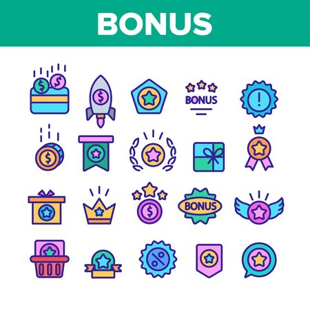 Bonus Loyalty Collection Elements Icons Set Vector Thin Line. Dollar Mark On Rocket, Coins And Credit Card, Present Box And Crown Bonus Concept Linear Pictograms. Color Contour Illustrations
