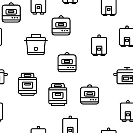 Slow Cooker Vector Seamless Pattern Thin Line Illustration Ilustração